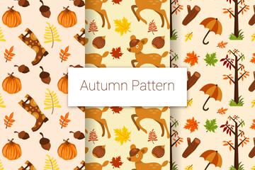 3款彩色秋季动植物无缝背景矢量图