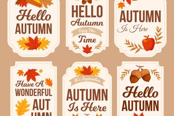 6款彩色秋季标签矢量素材