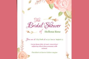 粉色玫瑰花新娘送礼会邀请卡矢量图