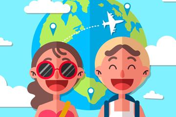 扁平化世界旅游日大笑情侣矢量图