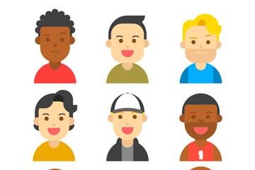 9款创意男子笑脸头像矢量素材