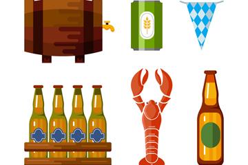6款创意啤酒节元素矢量素材