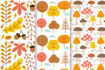 3款扁平化秋季植物无缝背景矢量图