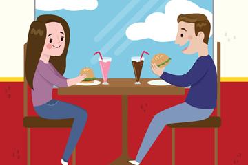 创意窗边吃汉堡包的情侣矢量图