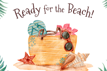 水彩绘沙滩度假包矢量梦之城娱乐