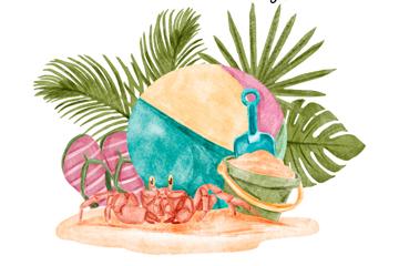 水彩绘夏季沙滩度假元素矢量梦之城娱乐