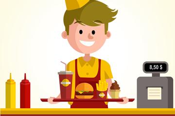创意快餐店服务生矢量素材