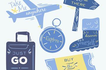 6款彩绘旅行语言物品矢量素材