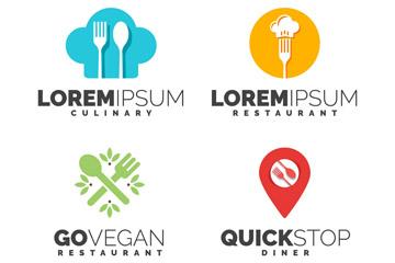 4款彩色餐馆标志矢量素材