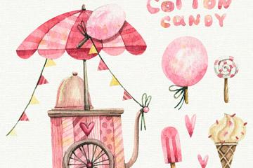水彩绘粉色棉花糖车和4款甜品矢量图