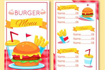 彩色汉堡包店菜单正反面矢量图