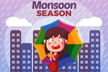 卡通雨中的城市女子矢量梦之城娱乐