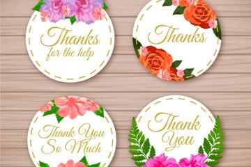 4款彩绘圆形花卉感谢卡片矢量图