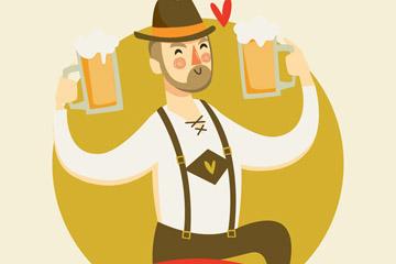 手绘啤酒节酒保设计矢量素材