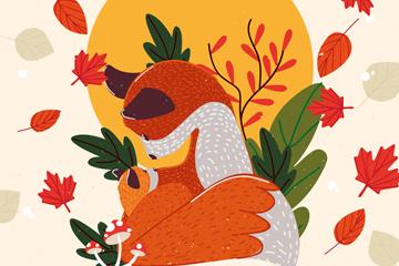 彩绘秋季落叶中的狐狸矢量图