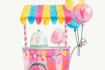 水彩绘可爱棉花糖车和气球矢量图
