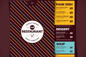 时尚条纹餐馆菜单正反面矢量图