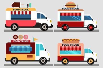 4款创意快餐车设计矢量图