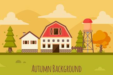 创意秋季农场风景矢量素材