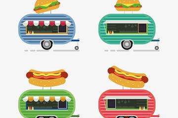 4款可爱快餐车设计矢量素材