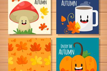 4款可爱秋季元素卡片矢量素材