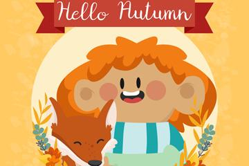 卡通秋季儿童和狐狸矢量素材