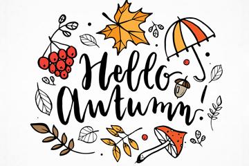 彩绘秋季元素艺术字矢量素材