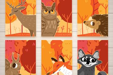 6款秋季森林动物卡片矢量素材