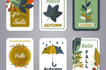 6款��意秋季促�N卡片矢量素材