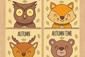 4款秋季微笑动物卡片矢量素材