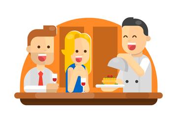 创意餐馆用餐的情侣矢量素材