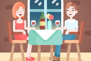 创意餐厅用餐的男女矢量素材