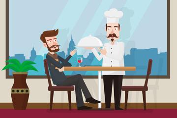 创意餐厅用餐的男子和厨师矢量图