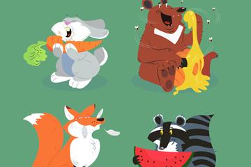 4款卡通吃食物的动物矢量图