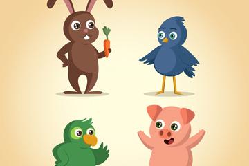 4款卡通站姿动物矢量素材