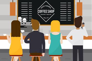 创意咖啡店内的顾客背影矢量图