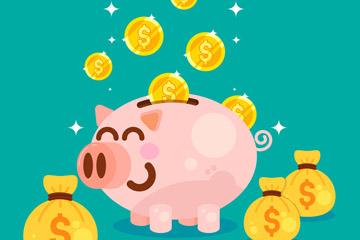 卡通微笑猪储蓄罐和金币矢量图