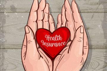 彩绘被双手捧起的医疗保险爱心矢