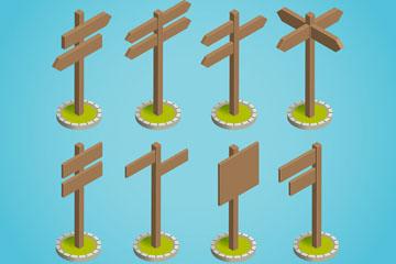 8款立体空白木质路牌矢量素材