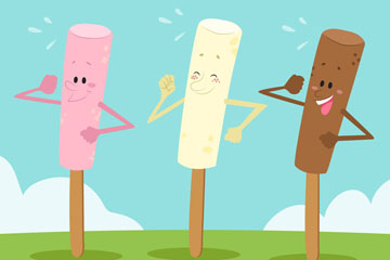 3款卡通表情雪糕矢量素材