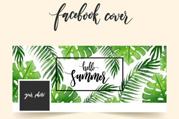 水彩绘棕榈树叶脸书封面图片矢量