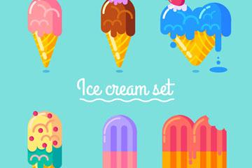 6款彩色夏季雪糕矢量素材