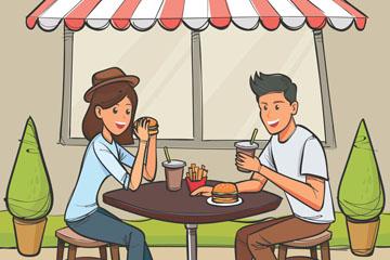 创意室外餐厅吃快餐的男女矢量图