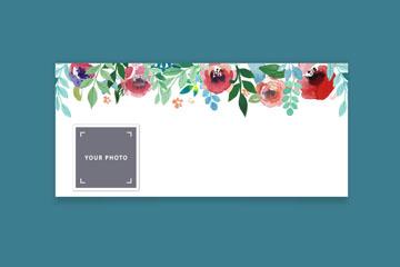 水彩绘花朵脸书封面图片矢量图