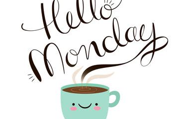 卡通星期一微笑咖啡矢量素材