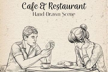 手绘咖啡店用餐的男女矢量梦之城娱乐