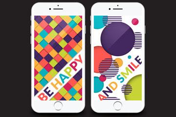 2款彩色手机界面图片矢量图