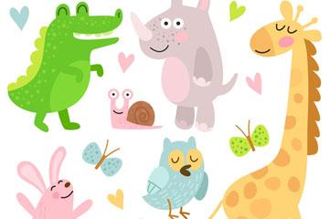 9款彩色可爱动物矢量素材