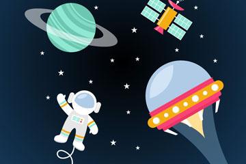 创意太空中的星球和宇航员矢量图