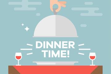 扁平化用餐时间餐桌矢量素材